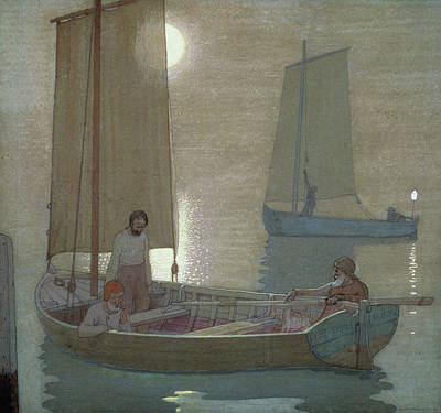 Three Brothers Painting - The Three Brothers by Frederick Cayley Robinson