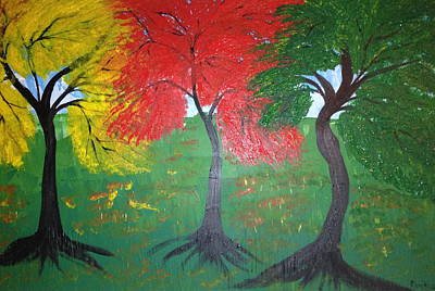 Painting - The Three Colours Of Maple Trees by Pretchill Smith