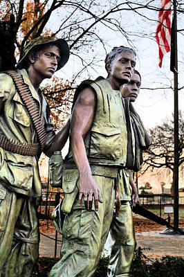 Vietnam Veterans Memorial Wall Photograph - The Three by JC Findley
