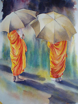 Painting - The Three Monks by Carol McLagan