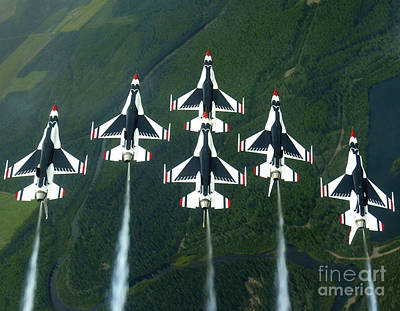 Photograph - The Thunderbird Aerial Demonstration by Stocktrek Images
