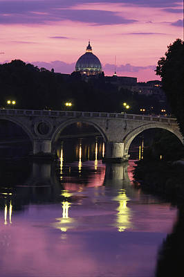 The Tiber River And The Dome Of St Art Print by Richard Nowitz