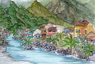 Machu Picchu Painting - The Town Of Aguas Calientes In The Foothills Of Machu Picchu by Bonnie Sue Schwartz