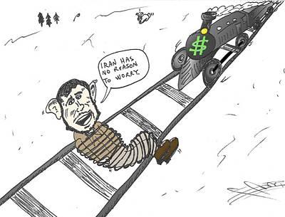 Editorial Cartoon Mixed Media - The Train Heads For Mahmoud Ahmedinajad Caricature by OptionsClick BlogArt