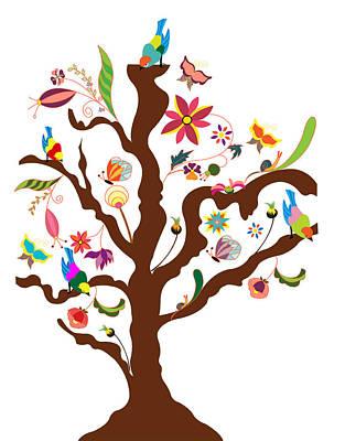 Art And Craft Digital Art - The Tree Of Flowers And Birds by Simona Dumitru