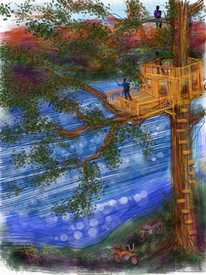 Mountain View Mixed Media - The Treehouse by Russell Pierce