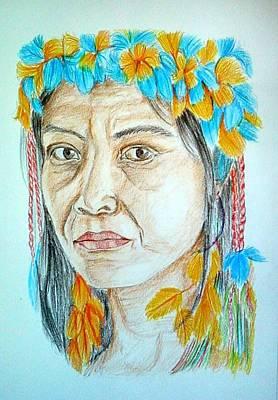 Tribal Women Drawing - The Tribal Lady by Ankita Ghosh