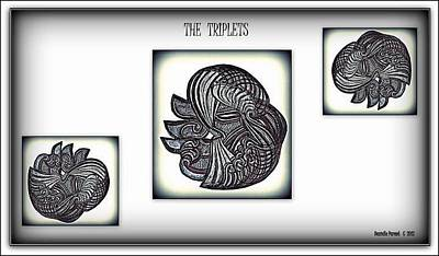 Art Print featuring the drawing The Triplets by Danielle  Parent