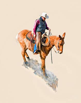 Western Pleasure Digital Art - The Trusty Mule by Dewain Maney