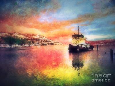 Okanagan Lake Photograph - The Tug Boat At Dawn by Tara Turner