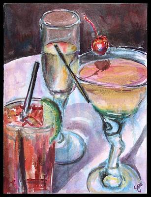 Cocktails Painting - The Twisted Trio by Jami Childers