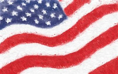 Glass Art - The United States Flag by Heidi Smith