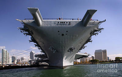 Uss Midway Photograph - The Uss Midway Berthed Pierside by Michael Wood