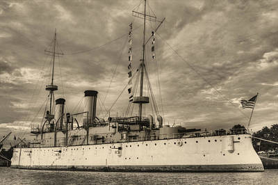 Photograph - The Uss Olympia Black And White by JC Findley