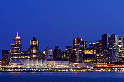 The Vancouver Skyline At Twilight Or Art Print by Rob Tilley