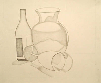 Drawing - The Vase And Wine Bottle by Teri Schuster