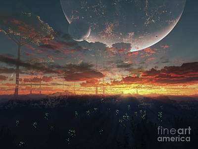 The View From An Alien Moon Towards Art Print by Brian Christensen