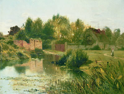 The Village Pond Art Print by Ernest Parton