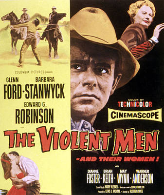 The Violent Men, Glenn Ford, Barbara Art Print by Everett