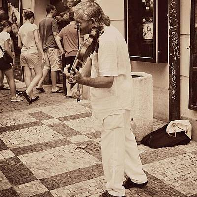 Music Photograph - The Violin Player #man #praha #prague by Sabrina Raber
