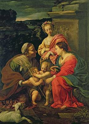 Mary And Jesus Painting - The Virgin And Child With Saints by Simon Vouet