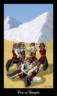 Vulpes Digital Art - The Vulpine Tarot - Five Of Swords by FoxWing Mabon-Tail