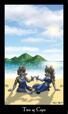 Vulpes Digital Art - The Vulpine Tarot - Two Of Cups by FoxWing Mabon-Tail