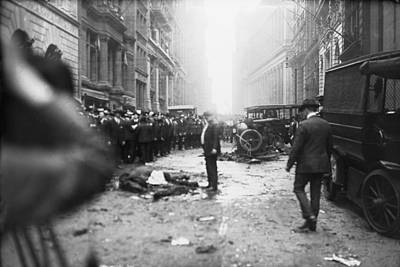 J.p. Morgan Photograph - The Wall Street Bombing. A Man Stands by Everett