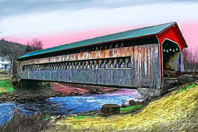 Covered Bridge Painting - The Ware Covered Bridge  by Earl Jackson