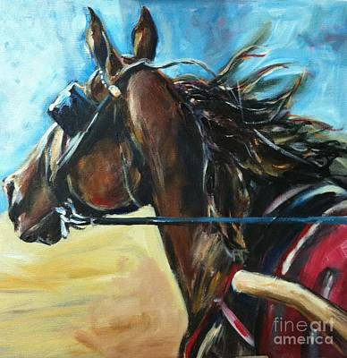 Acrylic Horse Painting - The Warm Up by Maria's Watercolor
