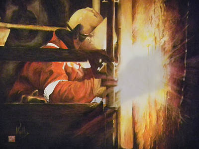 Painting - The Welder by Alan Kirkland-Roath