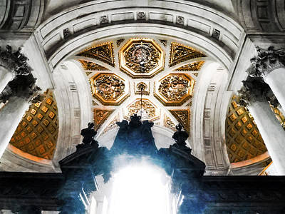 The West Doorway Of St Paul's Cathedral Art Print by Steve Taylor