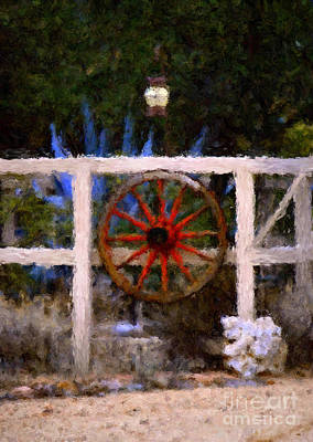 The Wheel On The Fence Art Print by Donna Greene