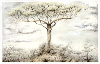 Mystical Landscape Painting - The White Tree by Bjorn Eek