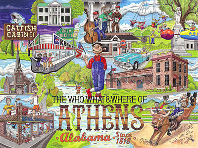 The Who What And Where Of Athens Alabama Art Print