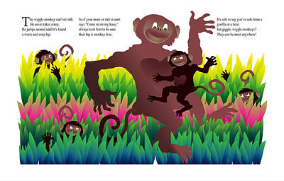 Creativity Drawing - The Wiggle Monkey by Gene Rosner