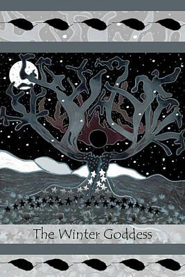 Wall Art - Drawing - The Winter Goddess by Lori Kirstein