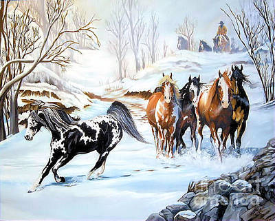 Painting - The Winter Herd Roundup by Cheryl Poland