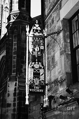 Royal Mile Photograph - The Witchery Sign Edinburgh Scotland Uk United Kingdom by Joe Fox