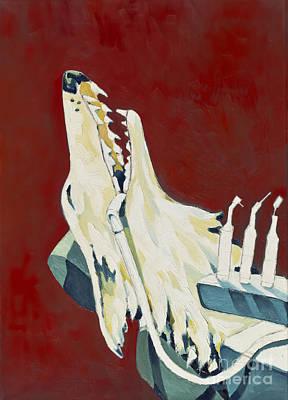 The Wolf At The Dentist - Der Wolf Beim Zahnarzt Art Print