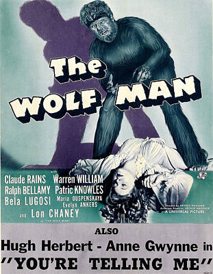 Horror Movies Photograph - The Wolf Man, As The Wolf Man Lon by Everett