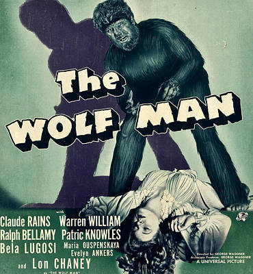 Lmps Photograph - The Wolf Man, From Top Lon Chaney Jr by Everett