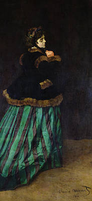 1866 Painting - The Woman In The Green Dress by Claude Monet