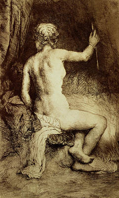 Woman Cave Drawing - The Woman With The Arrow by Rembrandt Harmensz van Rijn