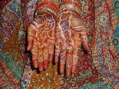 The Wonderfully Decorated Hands And Clothes Of An Indian Bride Art Print by Ashish Agarwal