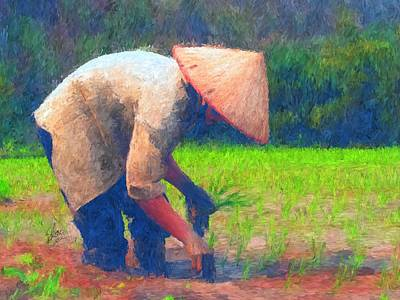 Rice Paddy Painting - The Worker by Stacy Moore
