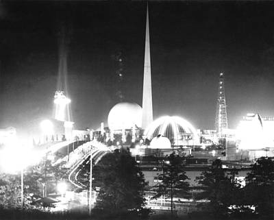 Futurism Architecture Wall Art - Photograph - The World Of Tomorrow, A Night View by Everett