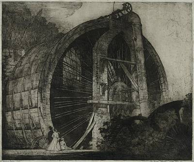 The Worlds Largest Water Wheel Powered Art Print by Everett