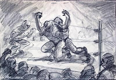 The Wrestling Match Art Print by Bill Joseph  Markowski