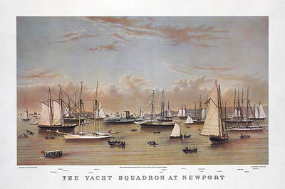 Yacht Mixed Media - The Yacht Squadron At Newport by Charles  shoup